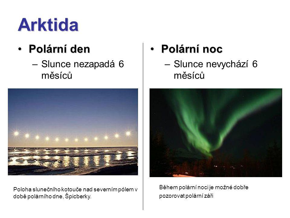 Arktida Polární den Polární noc Slunce nezapadá 6 měsíců