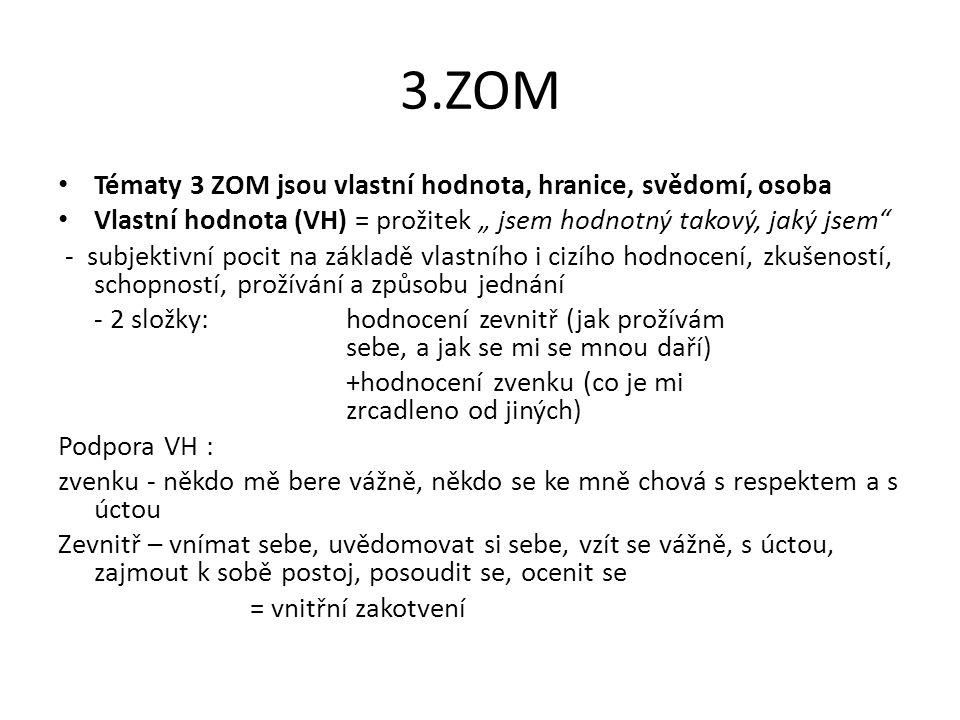 3.ZOM Tématy 3 ZOM jsou vlastní hodnota, hranice, svědomí, osoba
