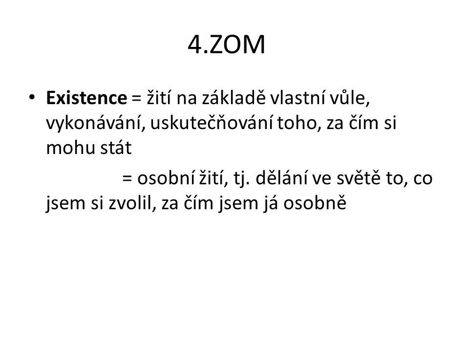 4.ZOM Existence = žití na základě vlastní vůle, vykonávání, uskutečňování toho, za čím si mohu stát.