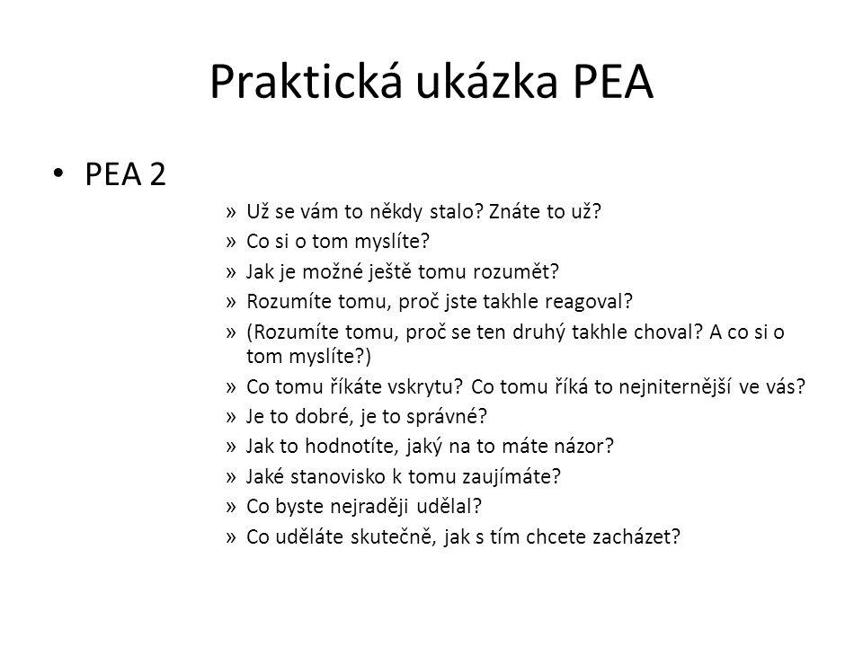 Praktická ukázka PEA PEA 2 Už se vám to někdy stalo Znáte to už