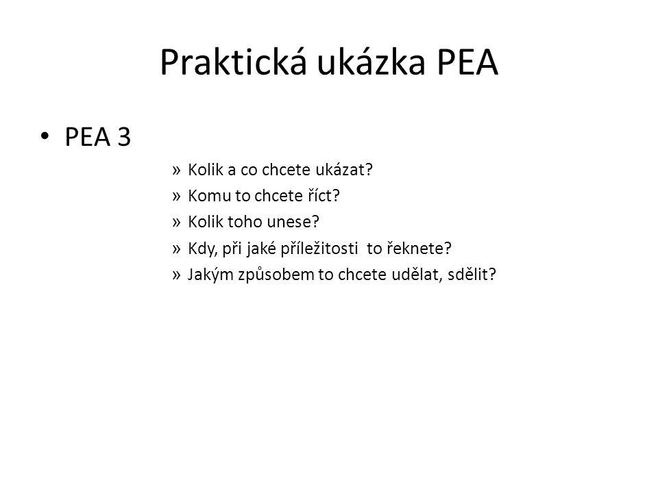 Praktická ukázka PEA PEA 3 Kolik a co chcete ukázat