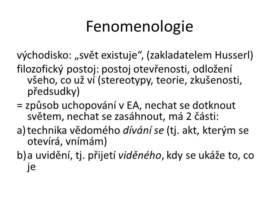 """Fenomenologie východisko: """"svět existuje , (zakladatelem Husserl)"""