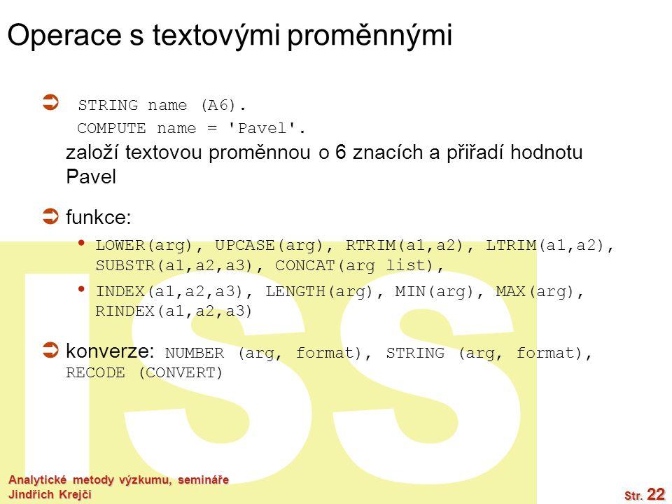 Operace s textovými proměnnými