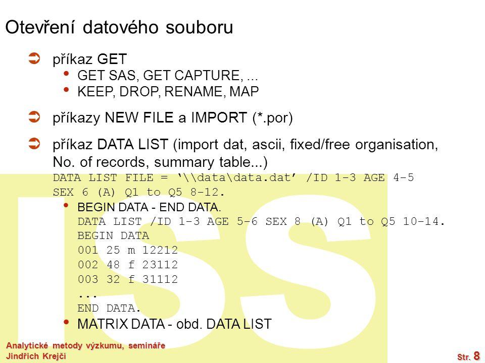 Otevření datového souboru