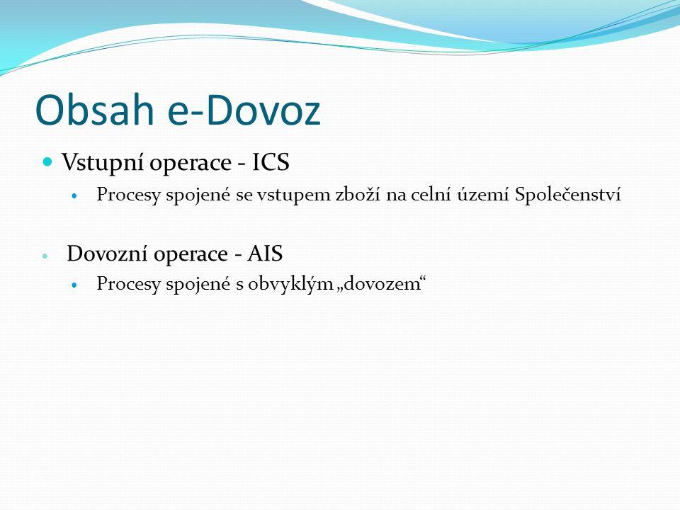 Obsah e-Dovoz Vstupní operace - ICS Dovozní operace - AIS