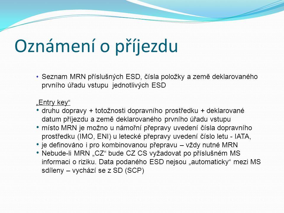 Oznámení o příjezdu Seznam MRN příslušných ESD, čísla položky a země deklarovaného prvního úřadu vstupu jednotlivých ESD.