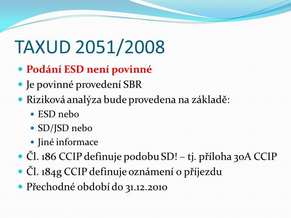 TAXUD 2051/2008 Podání ESD není povinné Je povinné provedení SBR