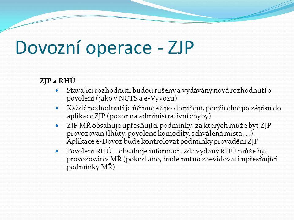Dovozní operace - ZJP ZJP a RHÚ