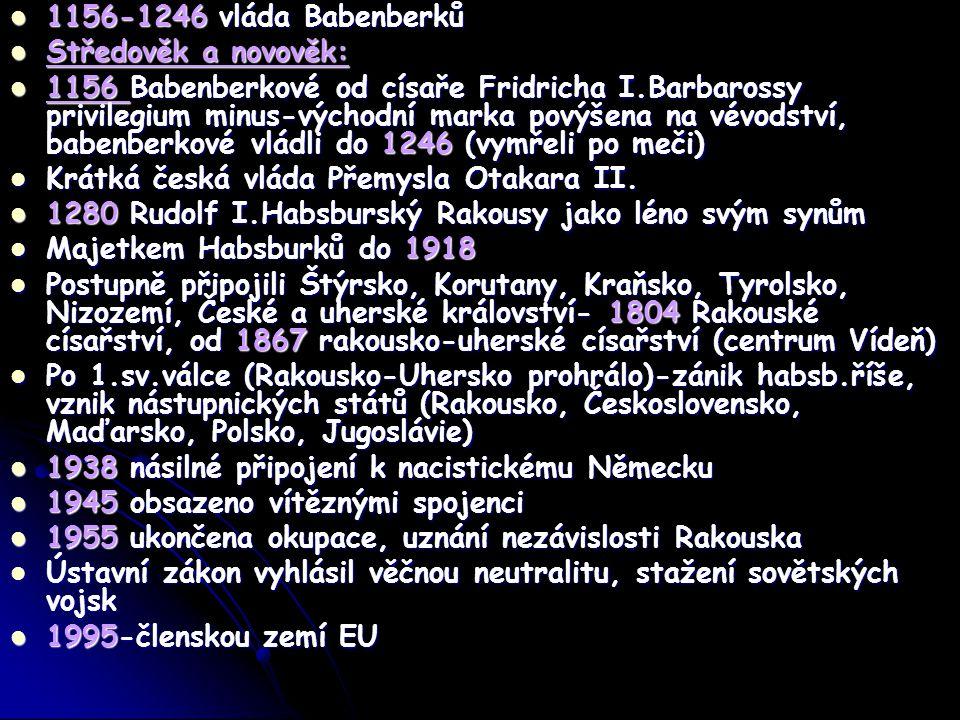 1156-1246 vláda Babenberků Středověk a novověk: