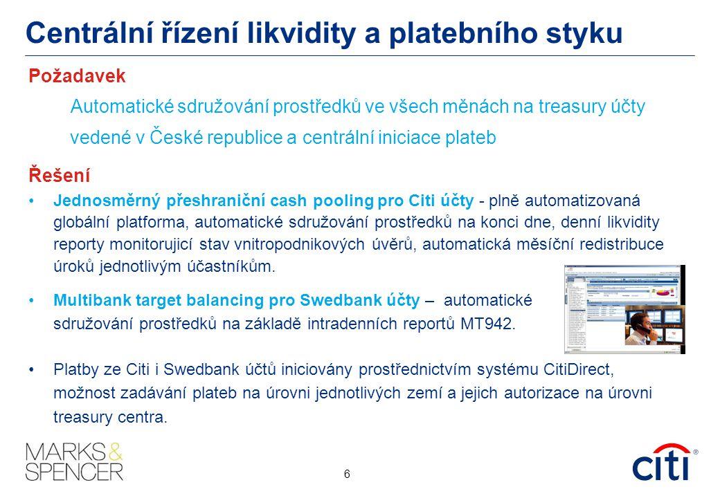 Centrální řízení likvidity a platebního styku