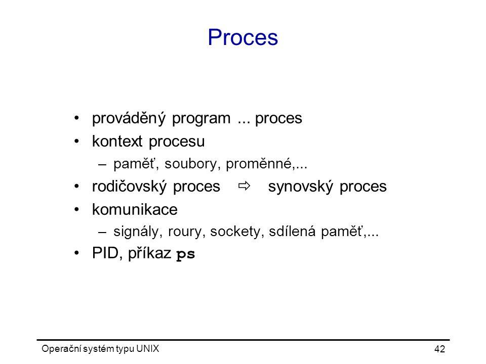 Proces prováděný program ... proces kontext procesu