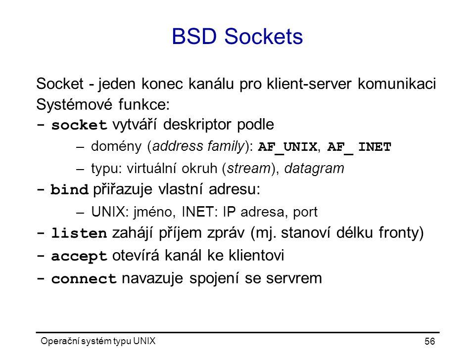BSD Sockets Socket - jeden konec kanálu pro klient-server komunikaci