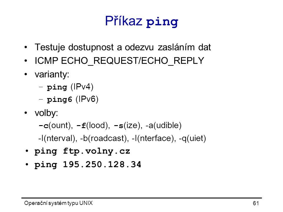 Příkaz ping Testuje dostupnost a odezvu zasláním dat