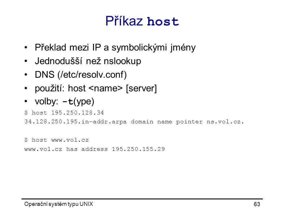 Příkaz host Překlad mezi IP a symbolickými jmény