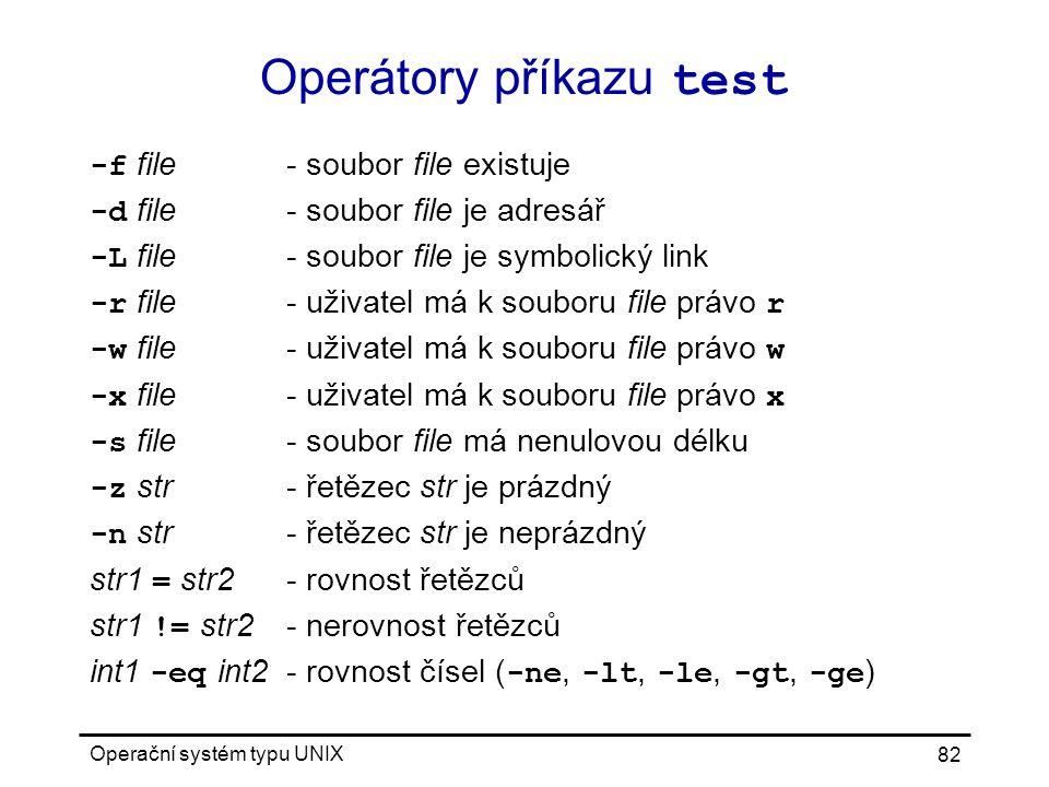 Operátory příkazu test