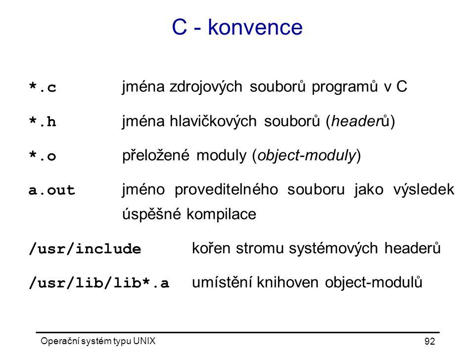C - konvence *.c jména zdrojových souborů programů v C