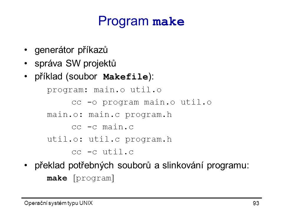 Program make generátor příkazů správa SW projektů
