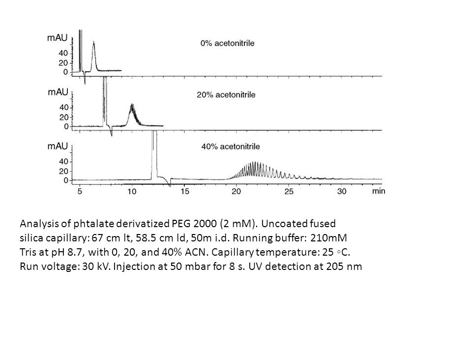 Analysis of phtalate derivatized PEG 2000 (2 mM). Uncoated fused