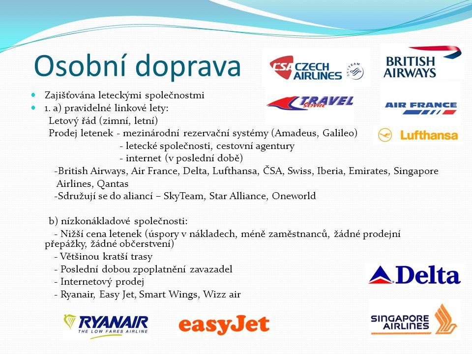Osobní doprava Zajišťována leteckými společnostmi