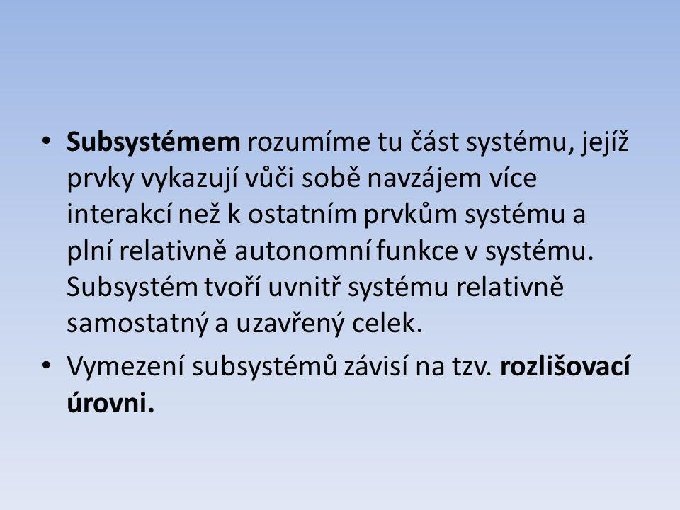 Subsystémem rozumíme tu část systému, jejíž prvky vykazují vůči sobě navzájem více interakcí než k ostatním prvkům systému a plní relativně autonomní funkce v systému. Subsystém tvoří uvnitř systému relativně samostatný a uzavřený celek.