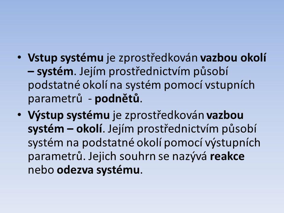 Vstup systému je zprostředkován vazbou okolí – systém