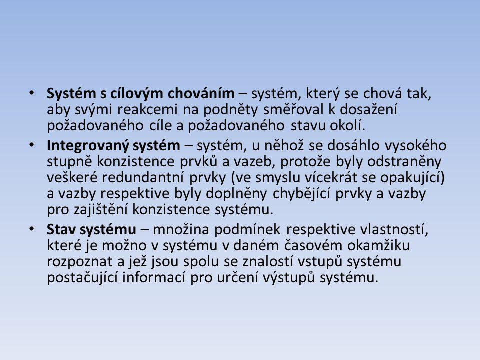 Systém s cílovým chováním – systém, který se chová tak, aby svými reakcemi na podněty směřoval k dosažení požadovaného cíle a požadovaného stavu okolí.