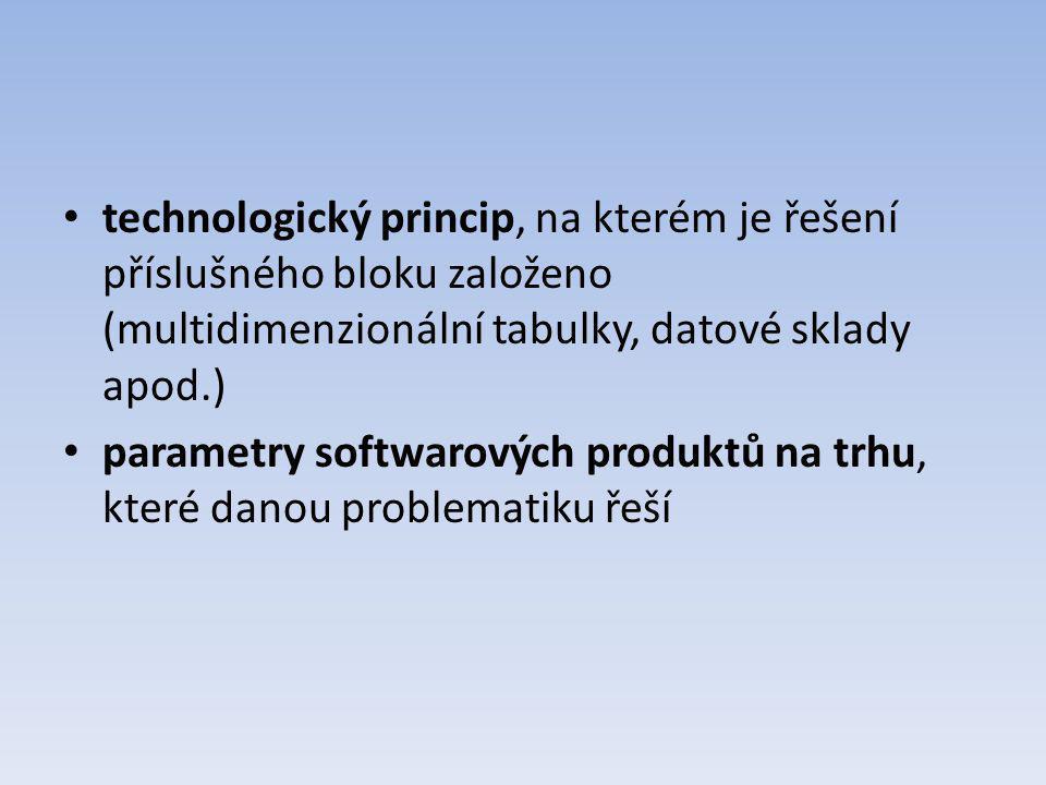 technologický princip, na kterém je řešení příslušného bloku založeno (multidimenzionální tabulky, datové sklady apod.)