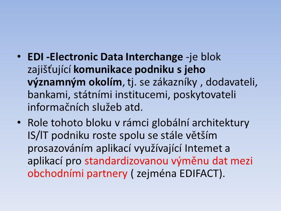 EDI -Electronic Data Interchange -je blok zajišťující komunikace podniku s jeho významným okolím, tj. se zákazníky , dodavateli, bankami, státními institucemi, poskytovateli informačních služeb atd.