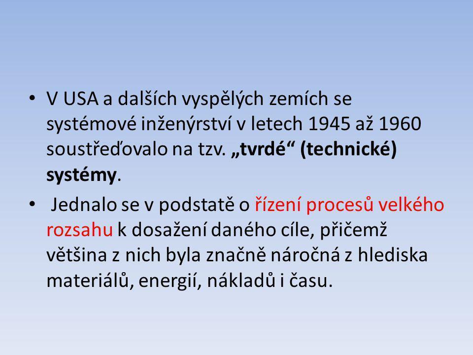 """V USA a dalších vyspělých zemích se systémové inženýrství v letech 1945 až 1960 soustřeďovalo na tzv. """"tvrdé (technické) systémy."""