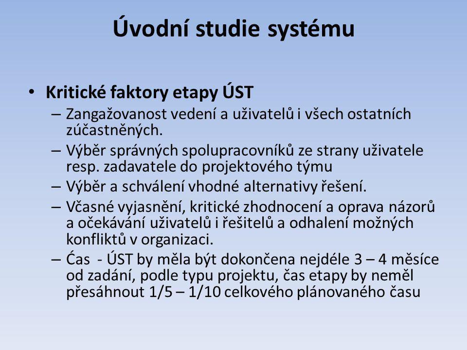 Úvodní studie systému Kritické faktory etapy ÚST
