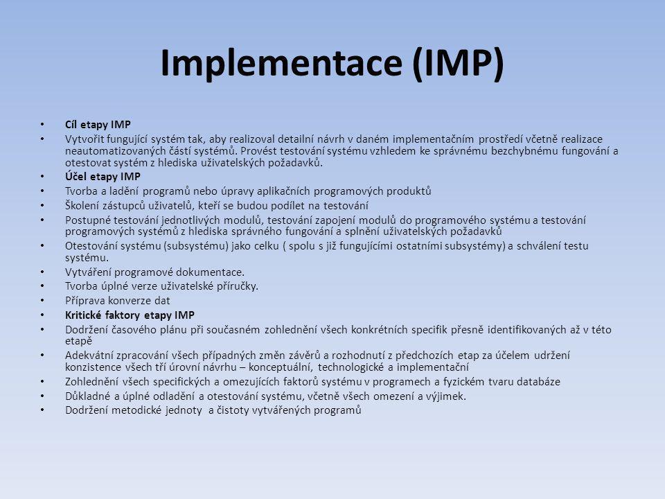 Implementace (IMP) Cíl etapy IMP