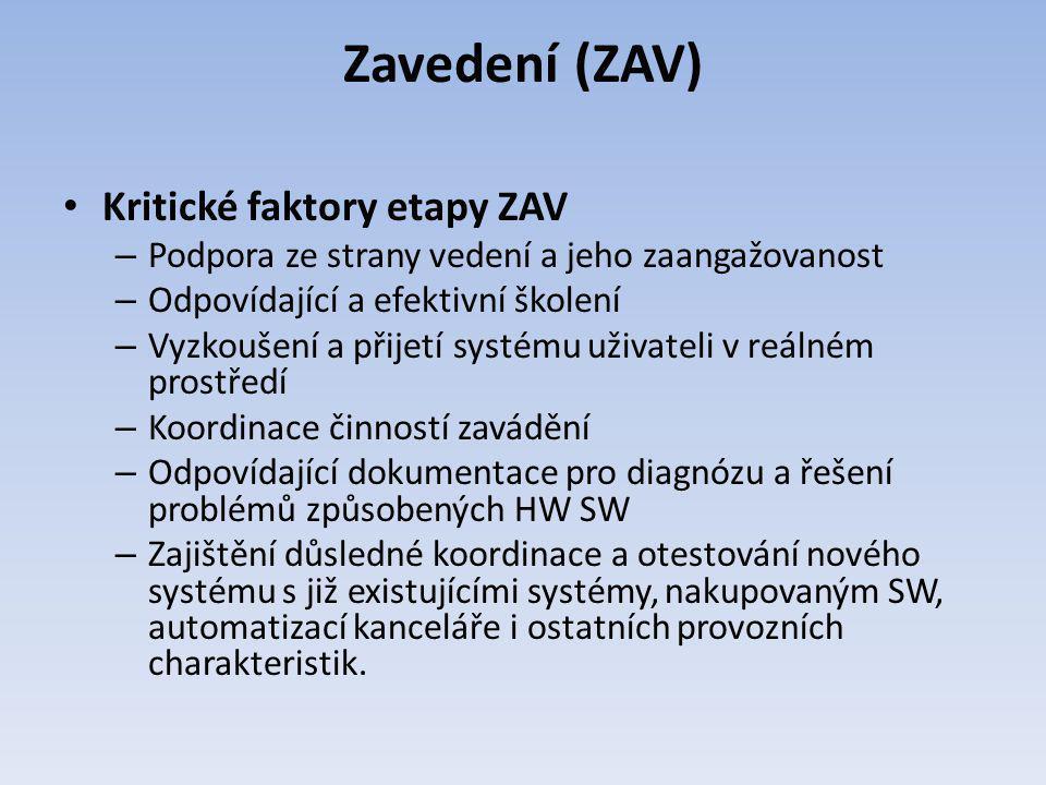 Zavedení (ZAV) Kritické faktory etapy ZAV