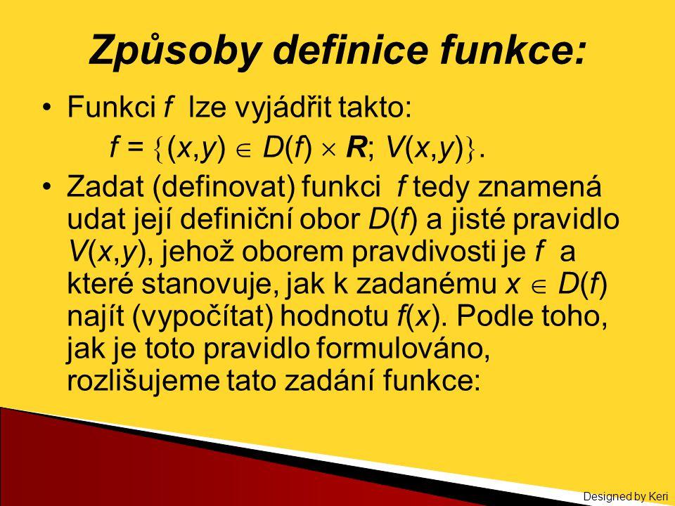 Způsoby definice funkce: