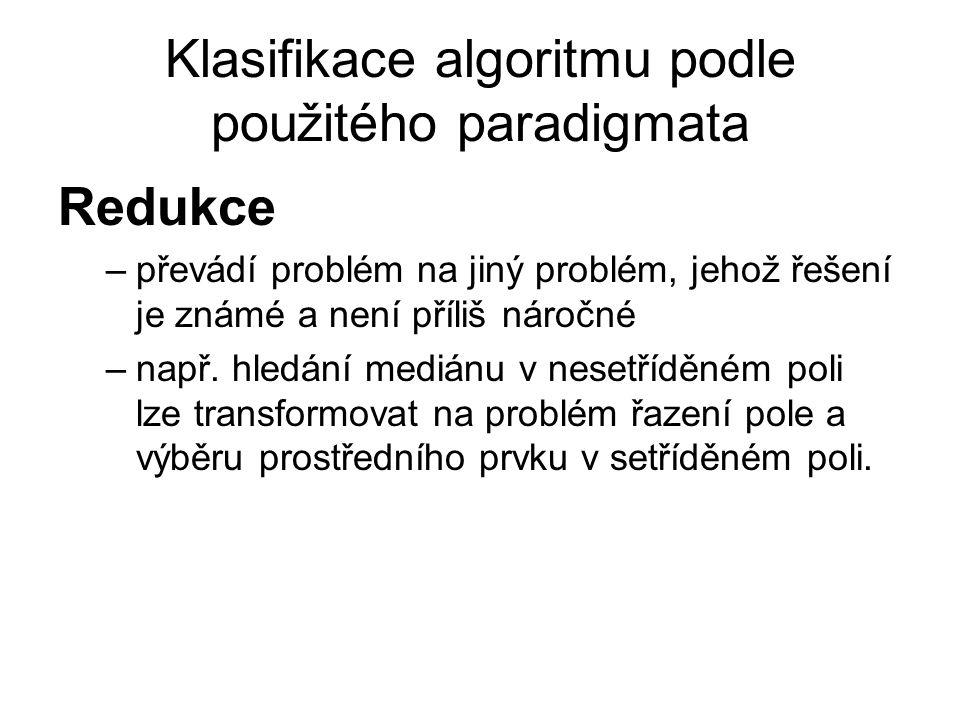 Klasifikace algoritmu podle použitého paradigmata