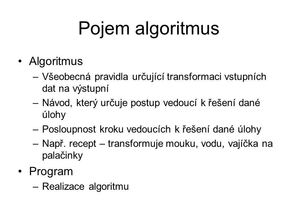 Pojem algoritmus Algoritmus Program