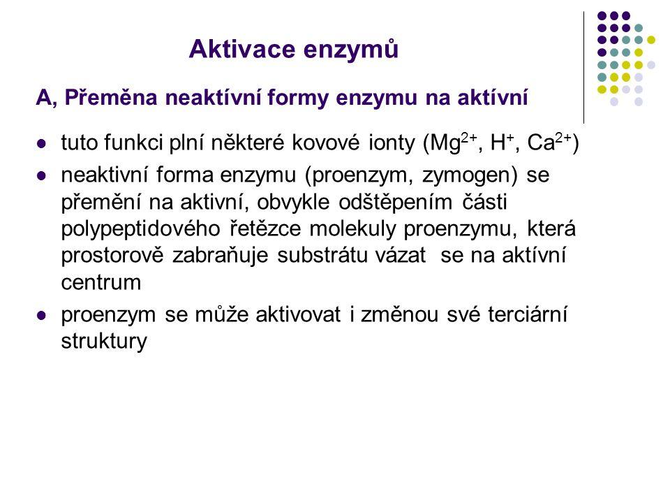 Aktivace enzymů A, Přeměna neaktívní formy enzymu na aktívní