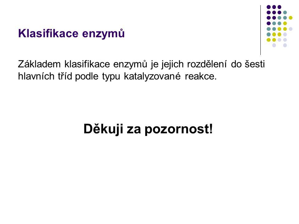 Děkuji za pozornost! Klasifikace enzymů