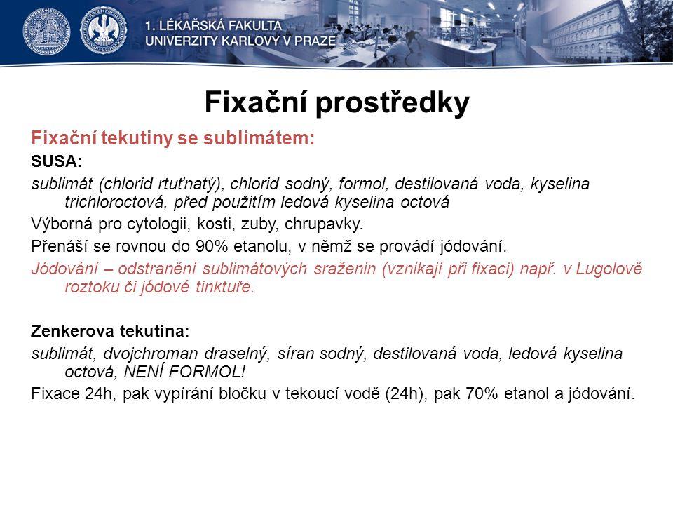 Fixační prostředky Fixační tekutiny se sublimátem: SUSA: