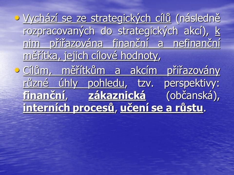 Vychází se ze strategických cílů (následně rozpracovaných do strategických akcí), k nim přiřazována finanční a nefinanční měřítka, jejich cílové hodnoty,