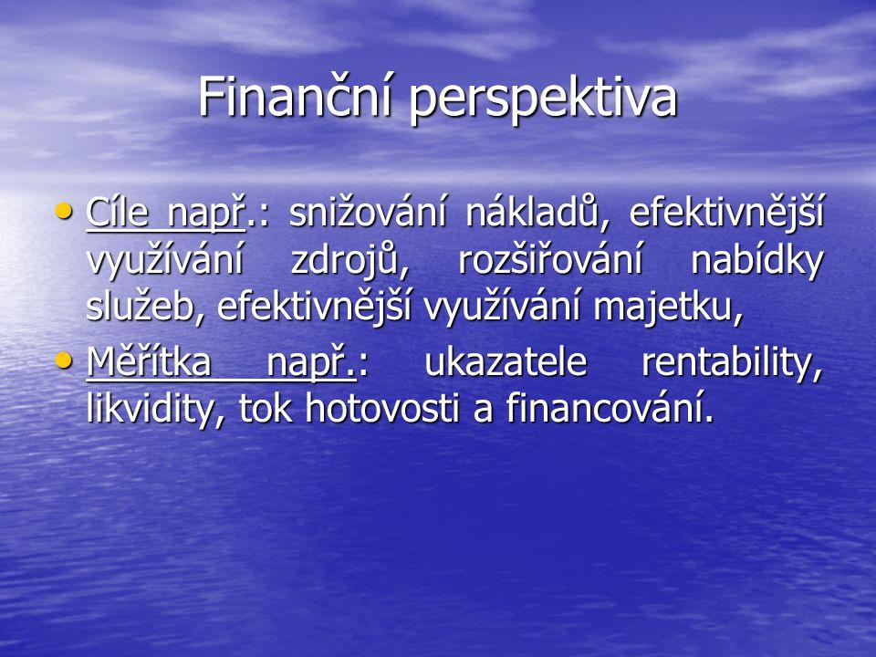 Finanční perspektiva Cíle např.: snižování nákladů, efektivnější využívání zdrojů, rozšiřování nabídky služeb, efektivnější využívání majetku,