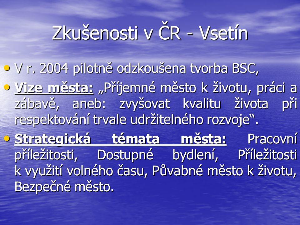 Zkušenosti v ČR - Vsetín