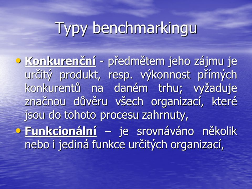 Typy benchmarkingu