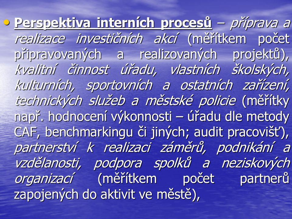 Perspektiva interních procesů – příprava a realizace investičních akcí (měřítkem počet připravovaných a realizovaných projektů), kvalitní činnost úřadu, vlastních školských, kulturních, sportovních a ostatních zařízení, technických služeb a městské policie (měřítky např.
