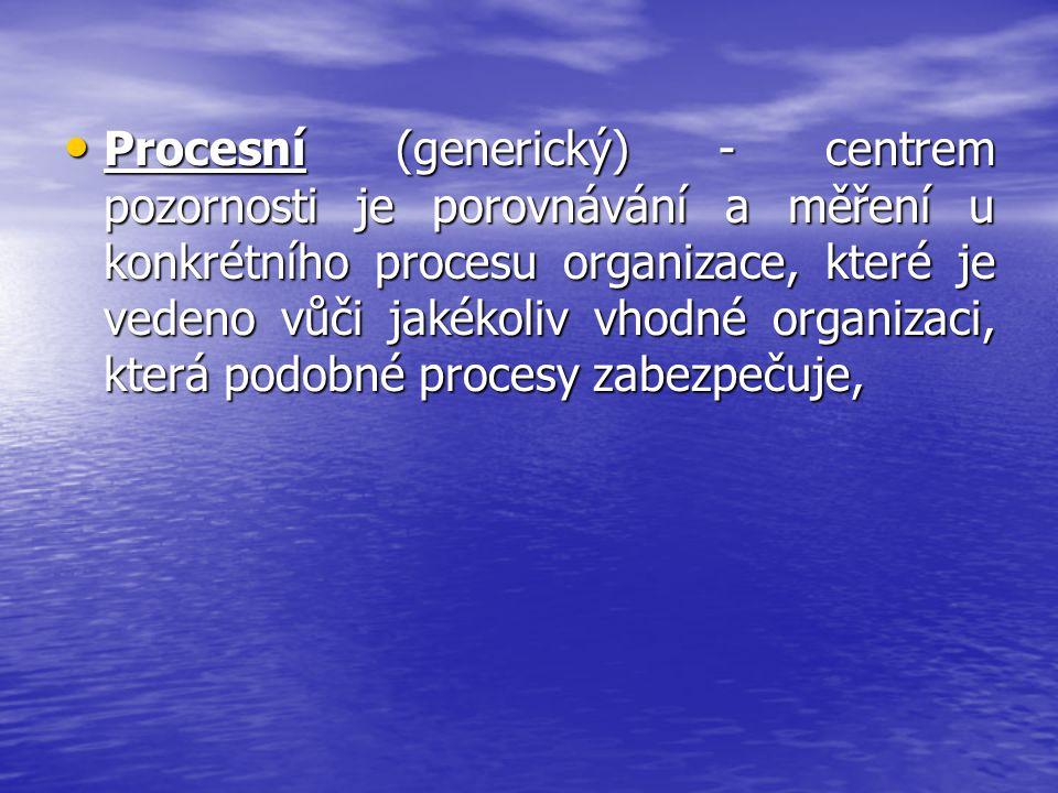 Procesní (generický) - centrem pozornosti je porovnávání a měření u konkrétního procesu organizace, které je vedeno vůči jakékoliv vhodné organizaci, která podobné procesy zabezpečuje,