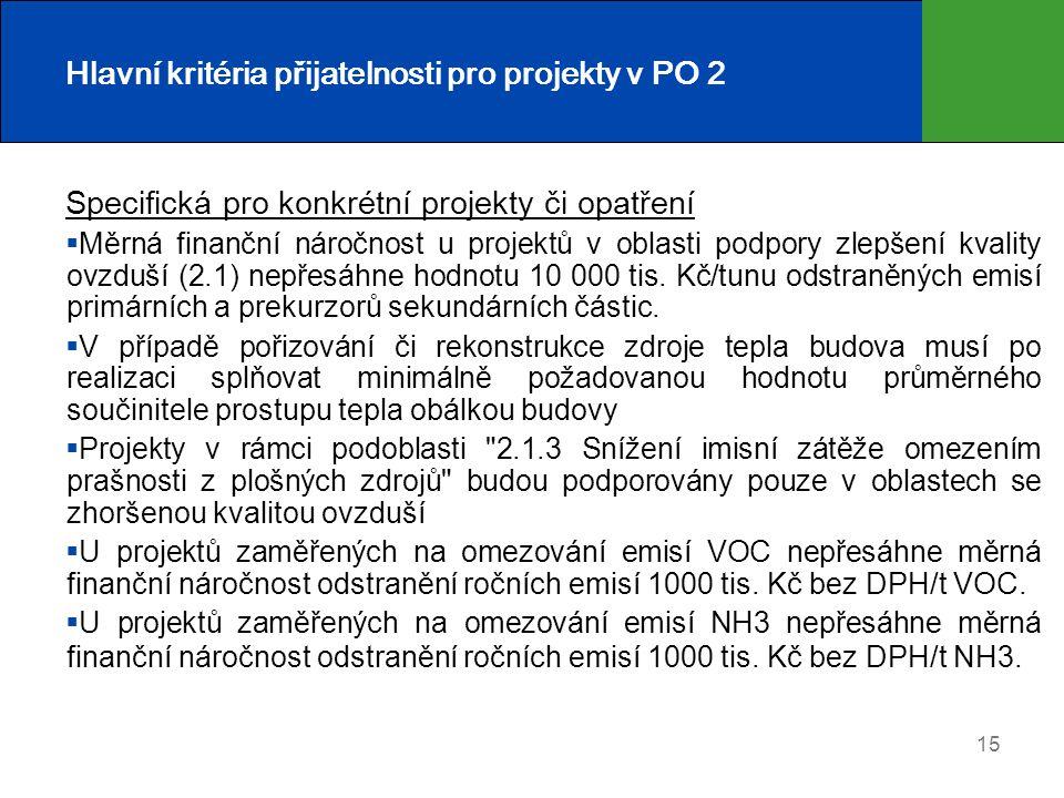 Hlavní kritéria přijatelnosti pro projekty v PO 2