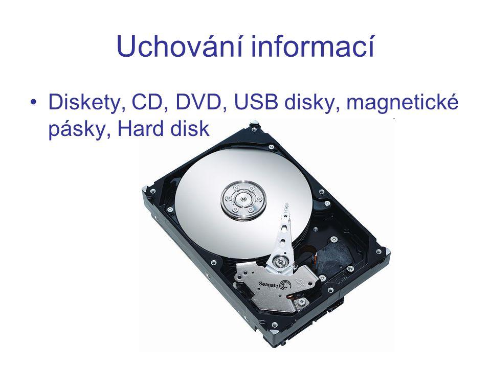Uchování informací Diskety, CD, DVD, USB disky, magnetické pásky, Hard disk