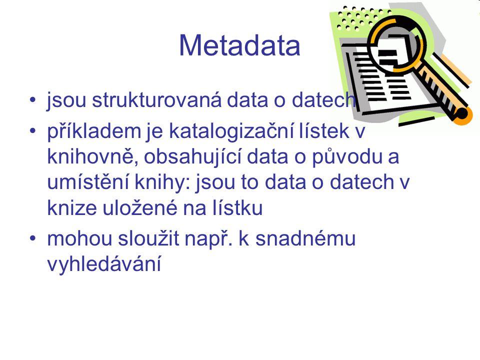 Metadata jsou strukturovaná data o datech