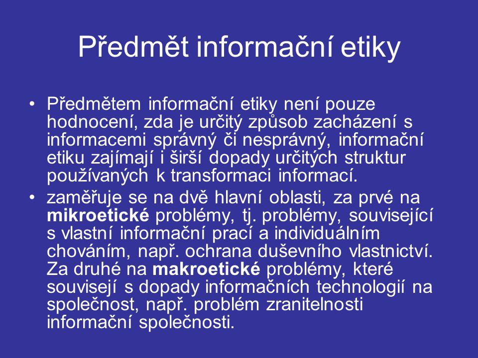 Předmět informační etiky