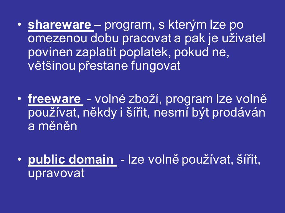 shareware – program, s kterým lze po omezenou dobu pracovat a pak je uživatel povinen zaplatit poplatek, pokud ne, většinou přestane fungovat