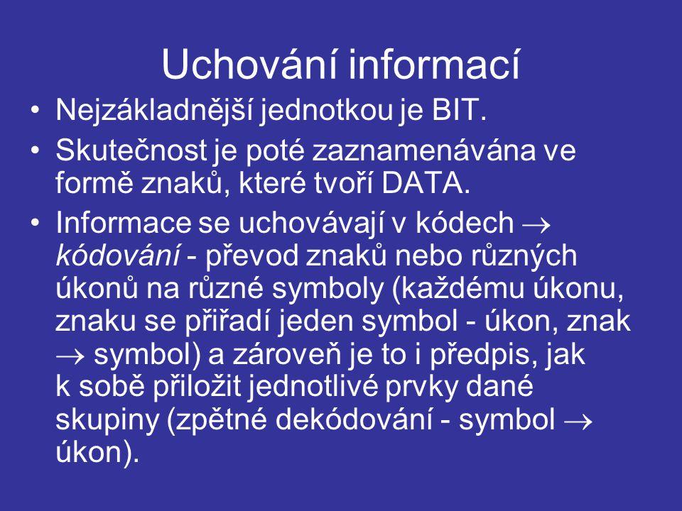 Uchování informací Nejzákladnější jednotkou je BIT.